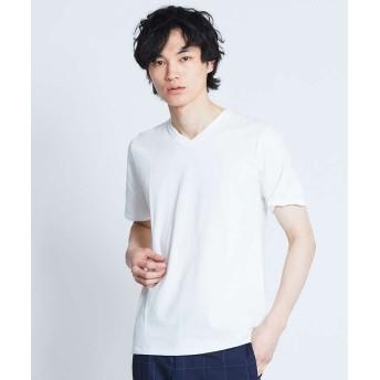 アバハウス 杢スラブ半袖VネックTシャツ メンズ ホワイト 48 【ABAHOUSE】