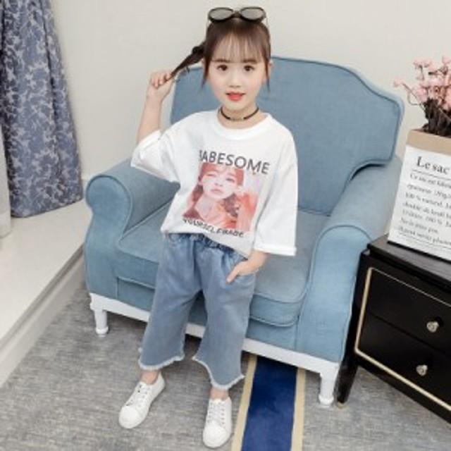 0205c3dec4b32 女の子 春 夏 長袖Tシャツ+デニムパンツ 2点セット シャツ+ワイドパンツ. トップ 子供用品 キッズファッション その他