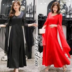 セール ドレス 結婚式 パーティー 大きいサイズ ★ 袖フリル使いシフォンロングドレスワンピース M L 2L 3L 4L 5L サイズ ★ yoro563