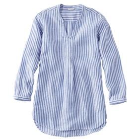 プレミアム・ウォッシャブル・リネン・シャツ、ロング・チュニック ストライプ/Premium Washable Linen Shirt Splitneck Tunic Long-Sleeve Stripe