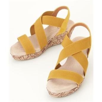 ふわふわインソールクロスウェッジサンダル(ワイズ4E) サンダル, Sandals, 凉鞋, 涼鞋