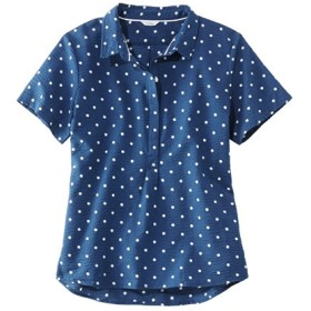 テクスチャード・コットン・ポップオーバー・シャツ、半袖 プリント/Textured Cotton Popover Shirt Short-Sleeve Print