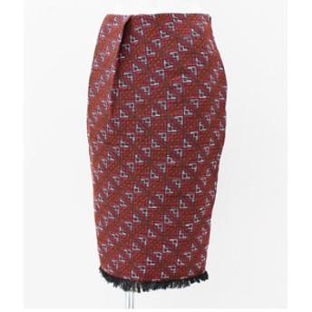 【ANAP:スカート】オルテガジャガード裾フリンジスカート