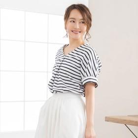 ユメテンボウ 夢展望 抜き襟Tシャツ (ボーダーホワイト)