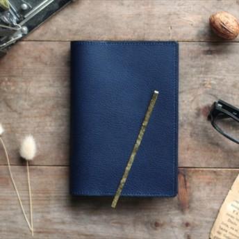 藍染革[shiboai] 文庫本ブックカバー(真鍮しおり付)