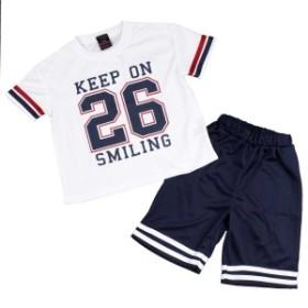 女の子 キッズ Tシャツハーフパンツ 上下セット ユニフォーム風 ロゴT Tスーツ セットアップ ホワイト-ネイビー 110cm/120cm/130cm