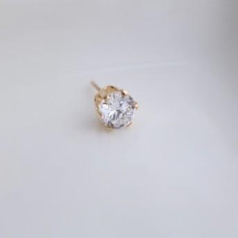 【birthstone/14kgf】誕生石ピアス 4月 crystal 6mm(片耳用)
