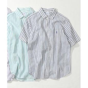 【50%OFF】 コーエン 綿麻ストライプ半袖シャツ メンズ NAVY SMALL 【coen】 【セール開催中】
