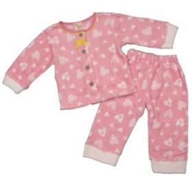 女の子ベビーパジャマ マイクロボアパジャマ 長袖上下セット ハート柄 寝間着 女児 PP-パステルピンク 80cm/90cm/95cm