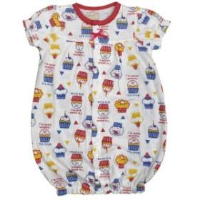 女の子 ベビー ツーウェイ ドレス カバーオール 天竺素材 新生児 カップケーキ柄 半袖 パジャマ 2WAY RE-レッド 50-70cm