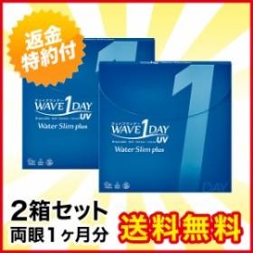 【送料無料】WAVEワンデー UV ウォータースリム plus×2箱セット/【最短当日発送】/1日使い捨て/ワンデー/コンタクト/コンタクトレ