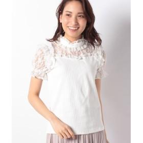 シークレットハニー スタンドフリルパフスリーブカットソー レディース ホワイト F 【Secret Honey】