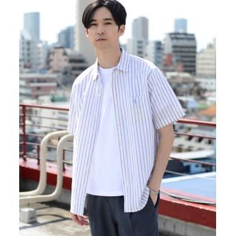 【50%OFF】 コーエン 綿麻ストライプ半袖シャツ メンズ LILAC SMALL 【coen】 【セール開催中】