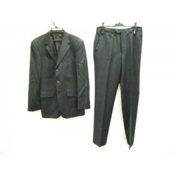 【中古】 ポールスミス PaulSmith シングルスーツ サイズL メンズ 美品 黒 パープル 肩パッド/チェック柄