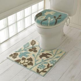 トイレ用品(単品販売・北欧鳥柄) - セシール ■カラー:スモークブルー ■サイズ:フタカバー/特殊型,足元マット/M(横60×縦60cm)