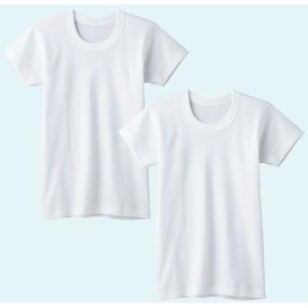 GUNZE グンゼ キッズ 半袖丸首(2枚組)(子供100-160cm)(男の子) ホワイト 110