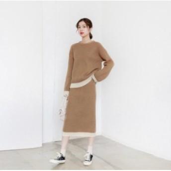 C30503 秋冬新作!ラウンドネックのリブ編みセーター×リブ編みペンシルニットスカートのセットアップシンプルコーデ☆
