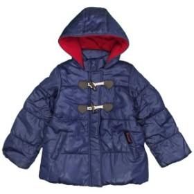 女の子キッズ Aライン中綿ジャンパー コート フード付き ジャケット シンプル無地 女児 ネイビー-無地 120cm/130cm