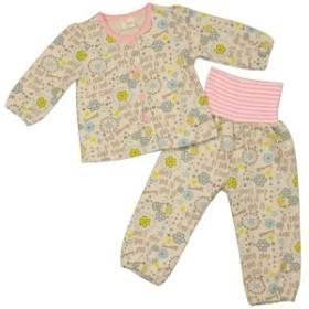 女の子ベビーパジャマ 腹巻付長袖パジャマ 上下セット 花柄 寝間着 ニットキルトパジャマ 女児 OA-オートミール 80cm/90cm/95cm