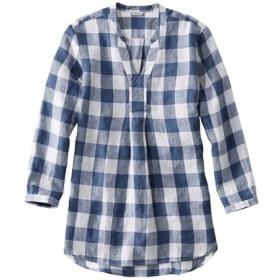 プレミアム・ウォッシャブル・リネン・シャツ、ロング・チュニック プラッド/Premium Washable Linen Long Tunic Plaid
