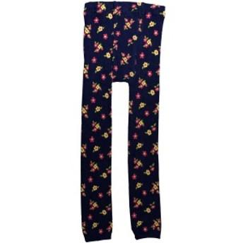 女の子ジュニア小花柄編み込みニットレギンス ネイビー 135cm/150cm