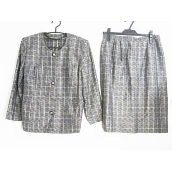 【中古】 レリアン Leilian スカートスーツ サイズ11 M レディース 黒 グレー 白 チェック柄/肩パッド