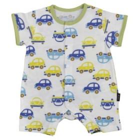 男の子 ベビー フィットオール 前開きタイプ 半袖 天竺素材 新生児 車柄 半袖 肌着 下着 赤ちゃん GR-グリーン 50-60cm/60-70cm