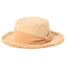 BEAMS mini / ラフィア フリンジ カンカン帽 キッズ ハット LT. ORANGE ONE SIZE