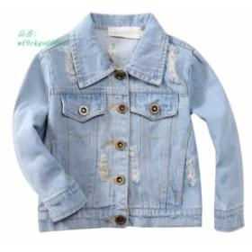 女 子ジャケット穴カウボーイスタイルティーン上着刺繍ファッション女 子ジャケットコート子供服子供 ジーンズ ジャケット