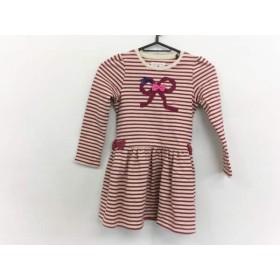 【中古】 ミキハウス miki HOUSE ワンピース サイズ120 レディース 美品 レッド ベージュ マルチ 子供服