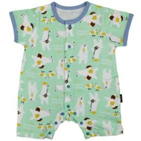 男の子 ベビー フィットオール 前開き 半袖 天竺素材 綿100% 新生児 しろくま柄 半袖 肌着 赤ちゃん GR-グリーン 50-60cm/60-70cm