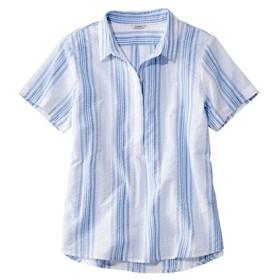 テクスチャード・コットン・ポップオーバー・シャツ、半袖 ストライプ/Textured Cotton Popover Shirt Short-Sleeve Stripe