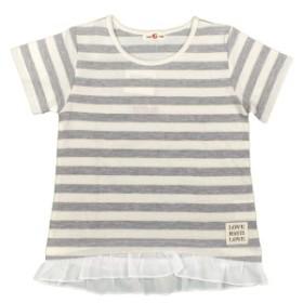女の子キッズ 裾 フリルつき ボーダー柄 半袖Tシャツ カットソー 女児 子供用 グレー-アイボリー 110cm/120cm/130cm