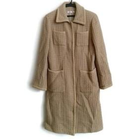 【中古】 レッセパッセ LAISSE PASSE コート サイズF レディース ライトブラウン 肩パッド/冬物