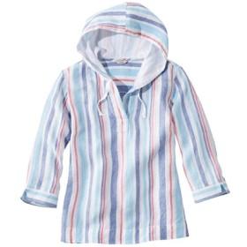 プレミアム・ウォッシャブル・リネン・シャツ、フーディ、ストライプ/Premium Washable Linen Hoodie Stripe
