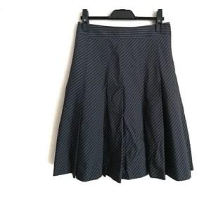【中古】 セオリー スカート サイズ0 XS レディース ダークネイビー アイボリー プリーツ/ストライプ