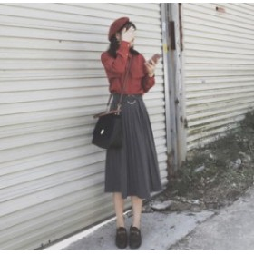 C30294 秋冬新作!ベルト付き膝下丈プリーツスカート×ビッグポケットシャツのセットアップコーデセット!
