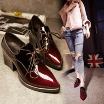 春夏新作 レディースシューズ オックスフォード靴 6.5cm厚底 おじ靴 履きやすい   歩きやすい パテントレザー