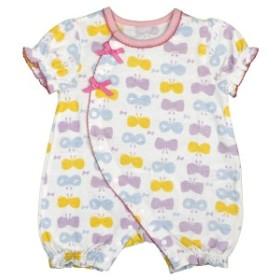 女の子 ベビー フィットオール 半袖 天竺素材 綿100% 新生児 ちょうちょ柄 半袖 肌着 下着 赤ちゃん PP-パープル 50-60cm/60-70cm
