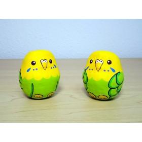 ★ミニ張り子★セキセイインコ*緑×黄*コロコロ*敷物付き