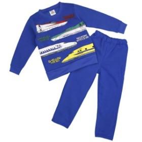 男の子 新幹線 裏起毛スウェット上下 ルームウェア パジャマ セットアップ トレスーツ 男児 子供用 ブルー 100cm/110cm/120cm
