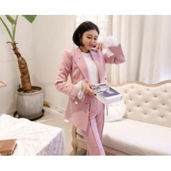 韓国 ファッション レディース ジャケット パンツ セットアップ スーツ ツーピース 上下セット ダブルブレスト スリム 大人 オルチャン