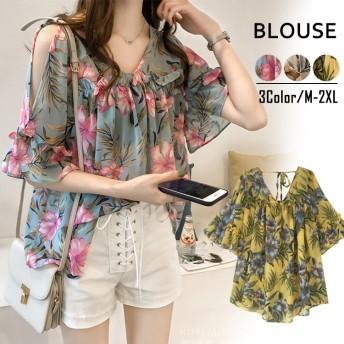 フラワーフリルブラウス2019新作韓国のファッション甘いラッパの袖肩を出すシフォンのシャツTシャツ