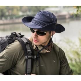 サファリハット メンズ ハット 帽子 2WAY つば広 軽薄 通気性抜群 日除け 紫外線対策 折りたたみ あご紐付き アウトドア 釣り ハイキング