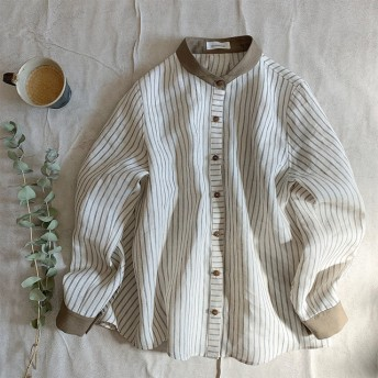 Linen stripe(khaki)