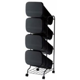 H&H スムース分別ごみ箱4段ダストボックスGBBH004 ブラック  80L 252811