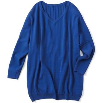 Tシャツ感覚で着られてきれい見えする さらシャリニットトップス〈ロイヤルブルー〉 リブ イン コンフォート フェリシモ FELISSIMO【送料:450円+税】