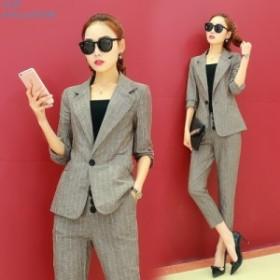 春夏 パンツスーツ 2点セット 紺ネイビー ビジネス 大きいサイズ ストライプ オフィス フォーマル 綿麻スーツ ベージュ