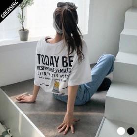 【GOGOSING】【再入荷】TODAYオーバーフィットTシャツ★レディーストップス レディースTシャツ ラウンドネック レタリング 長袖 新作 韓国 ファッション p000cyjw