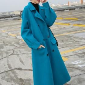 冬物 人気 コート ロング丈 カシミア ウール ダブルブレスト 通勤 開襟 パフ袖 ブルー 女子会 デート オフィス fk0010